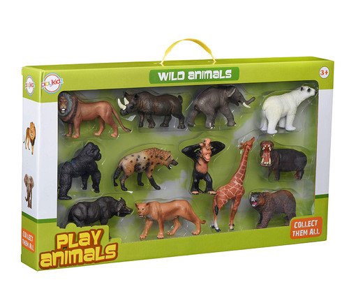 Animal Figures, Jumbo Jungle Animal Toy Set 12 Pieces, Playkidz toys Realistic Wild Vinyl Animals for Kids, Toddler, Child, Plastic Animal Party Favors Learning Forest Farm Animal Toys Playset.