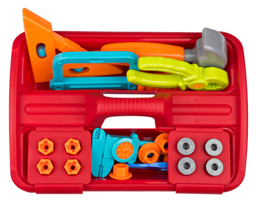 Playkidz 23 Piece Tool Box Set: Great Construction Toys for Boys and Girls, Assortment of Different Super Durable Tools, Nails, Screws and A Storage Caddy.