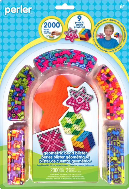 Perler Beads 'Geometric Shapes' Fuse Bead Activity Kit for Kids Crafts, 2004 pcs