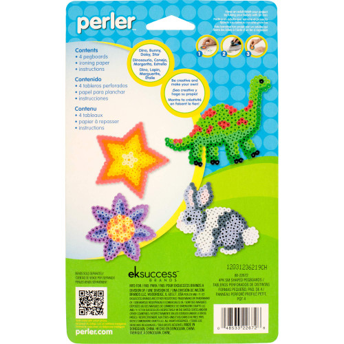 Perler Beads Assorted Fun Shapes Pegboards for Kids Crafts, 4 pcs