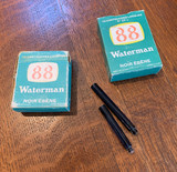 Waterman Glass Ink Cartridge - One Sealed Cartridge, Hard to Find, Two Sizes  (Half Full, Refillable)