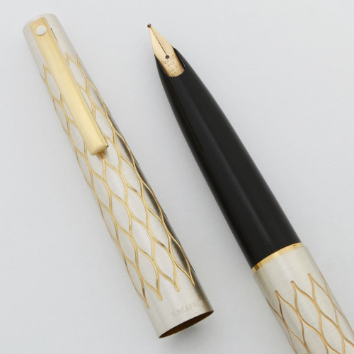 Lady Sheaffer 642 Fountain Pen (1975) - Satin Tulle, 14k Stylpoint Nibs (New Old Stock, Works Well)