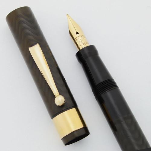 Dunn Fountain Pen (1921-7) -- Full Size BCHR w Wie Cap Band, Red Casein Pump Handle, Flexible Fine Dunn-Pen Nib (Excellent +, Restored)