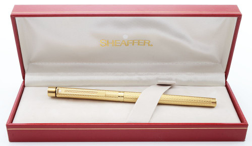 Sheaffer Targa 1009S Fountain Pen - Gold Barleycorn, 14k Nibs, Slim Converter Included (New Old Stock in Box)
