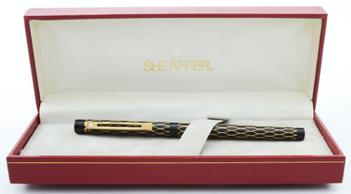 Sheaffer Targa 679S Fountain Pen - Black and Gold Tulle, 14k Nibs, Slim Converter Included (New Old Stock in Box)