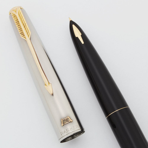 Parker 61 Deluxe Fountain Pen - First Edition, Black, Fine Nib (Superior, Works Well)