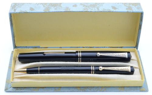Wahl Oxford Fountain Pen Set (Junior) - Black with Gold Trim, 14k Flexible #3 Nib (Superior in Box, Restored)