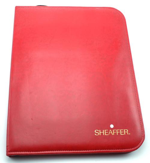 Sheaffer Pen Dealer Sample Display Binder - Red Leatherette (Very Nice Condition)