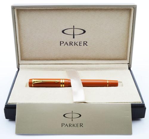Parker Modern Duofold Rollerball Pen - Mk III, Orange, Gold Trim (Excellent + in Box, Works Well)
