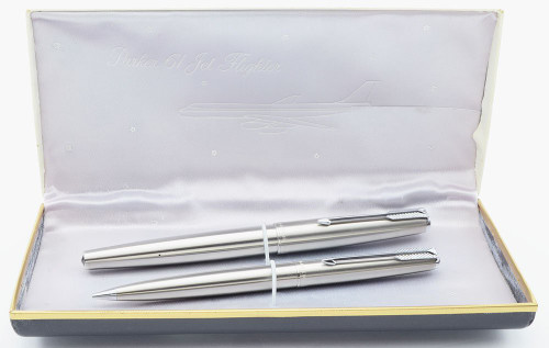 Parker 61 Jet Flighter Pen Set - Mark II, Brushed Steel, Chrome Trim, Medium 14k Nib (Near Mint in Box, Works Well)