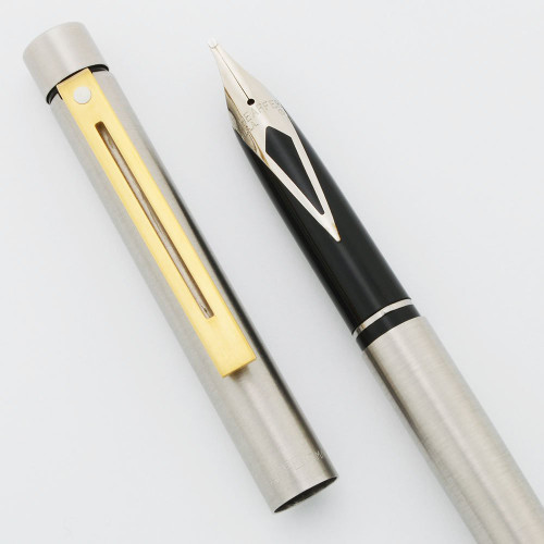 Sheaffer Targa 1001XS Slim Fountain Pen - Brushed Chrome w Gold Trim, Steel Nibs, Made in Australia (New Old Stock, Works Well)