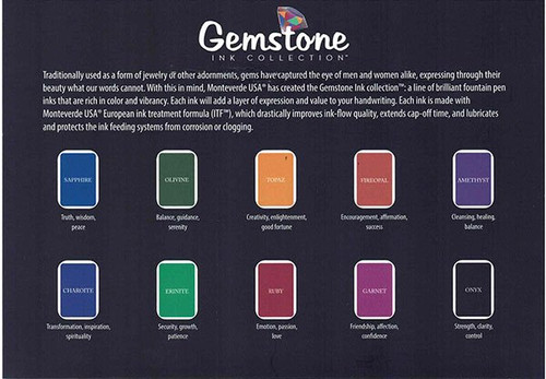 "Monteverde ""Gemstone"" Ink Collection - Fountain Pen Ink in 10 Colors, 30 ml Bottles (New, Sealed)"