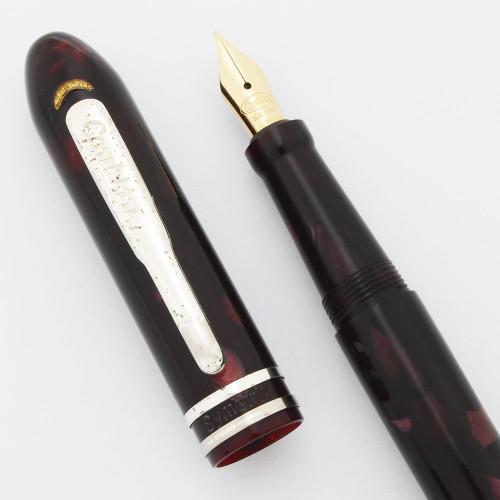Conklin (Modern) Symetrik Fountain Pen - Burgundy Cracked Ice, 14k Medium Nib (Very Nice, Works Well)