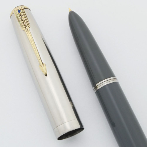 Parker 51 Vacumatic Fountain Pen (1948) - Dove Grey, Lustraloy Cap, Fine (Excellent, Restored)