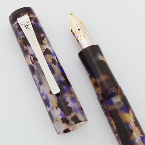 Faggionato Petrarque Fountain Pen - Orchid Celluloid, Bock 14k Broad Nib (Near Mint, Works Well)