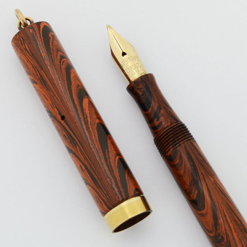 Waterman 52 1/2 V Fountain Pen - Red Ripple, Ring Top, Flexible Fine Ideal Nib (Excellent +, Restored) - 15818