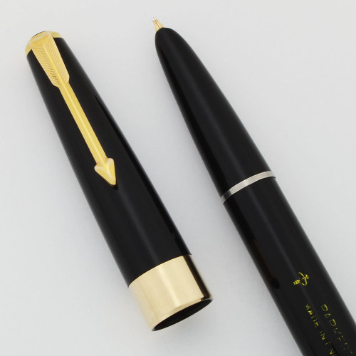 Parker 17 Super Fountain Pen (UK) - Aerometric, Black, Broad Gold Nib (Excellent, Works Well)