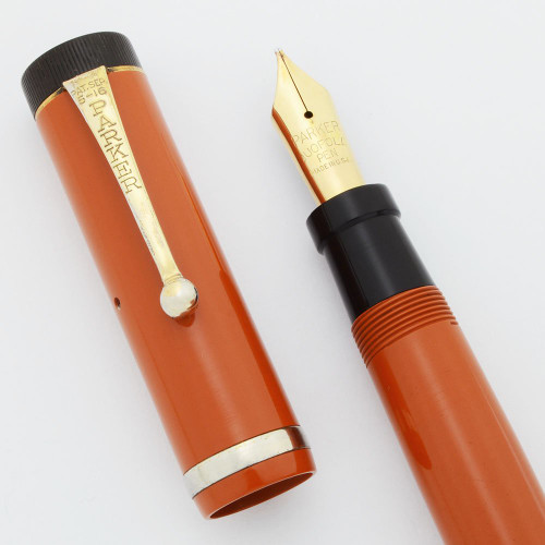 Parker Duofold Senior Fountain Pen (1920s)  - Red, Unusual Silver Cap Band, Fine 14K Nib (Excellent +, Restored)
