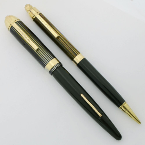 Eversharp Skyline Fountain Pen Set - Green w Striated Cap, Wide Band w Gold Derbies, 14k Medium Nib (Excellent, Restored)