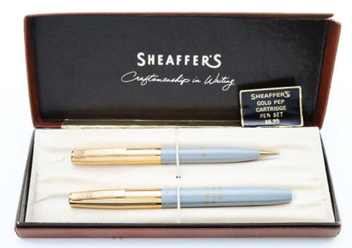 "Sheaffer ""Gold Pep"" Pen Set - Grey, Gold Caps, Semi-Hooded Medium Nib (New Old Stock, in Box)"