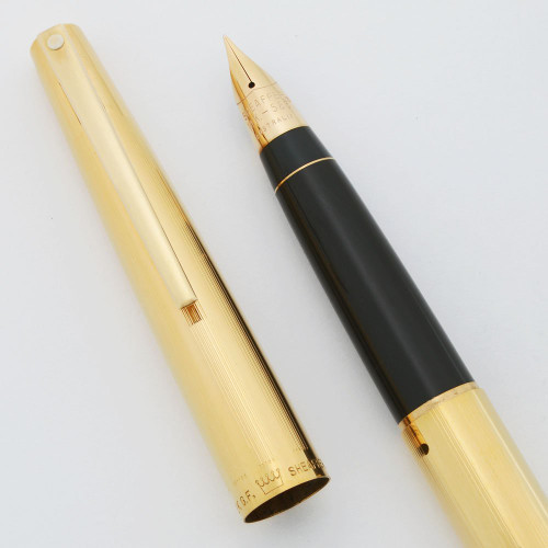 Sheaffer Stylist 777 Fountain Pen - Gold Lined, White Dot Version, Grey Section w 14k Fine Triumph Nib (Excellent, Works Well)