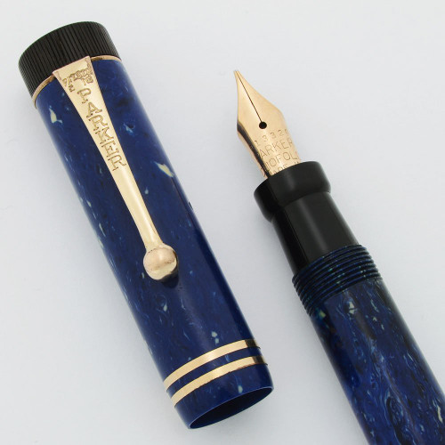 Parker Duofold Junior Fountain Pen - Blue Lapis, Medium (Excellent +, Restored)
