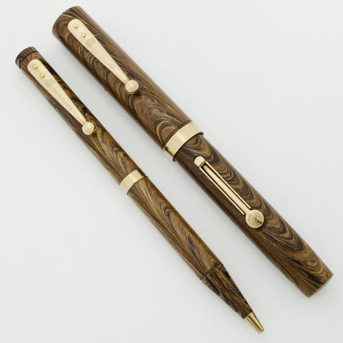 Waterman 52 V Olive Ripple Fountain Pen and Mechanical Pencil - Flexible Fine Nib (Excellent +, Restored)