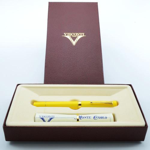 Visconti Monte Carlo Fountain Pen - Yellow Bakelite, Fine Steel Nib (Near Mint in Box)