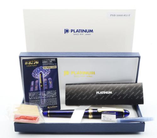 Platinum 3776 Century Fountain Pen - Chartres Blue w Gold Trim, 14k Fine Nib (New in Box) - 15983