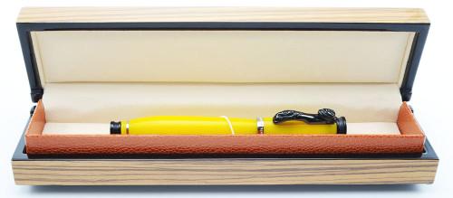 Loiminchay Mini Qian Long LE Fountain Pen (20/38) - Mandarin Yellow w/ Black Jade Clip and Silver Trim, 18k Medium Nib (Mint, In Box)