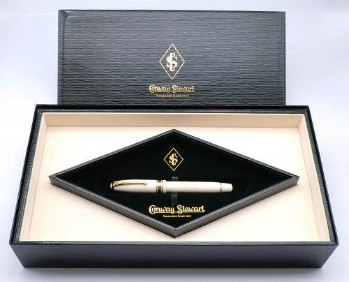Conway Stewart 100 Limited Edition (061/300) - Ivory Casein w 18k Trim, 18K Italic Broad Nib (Near Mint in Box, Works Well)