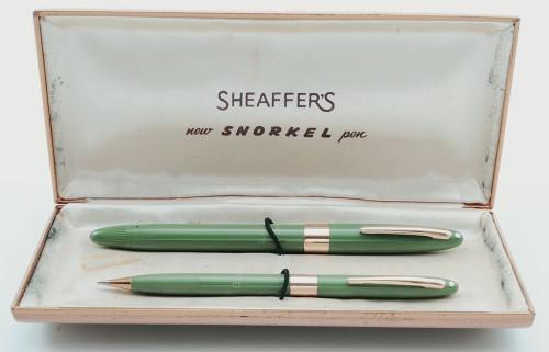 Sheaffer Statesman Snorkel Fountain Pen Pencil Set (1955-9) - Uncommon Sage Green, Medium PdAg Triumph Nib (Excellent + in Box, Chalkmarked, Restored)
