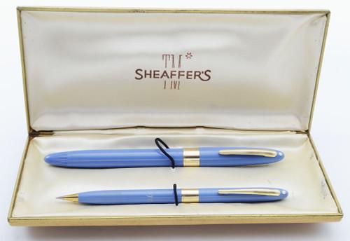 Sheaffer Valiant Snorkel Fountain Pen & Pencil Set - Hard to Find Periwinkle, Medium 14k Triumph Nib (Excellent + in Box, Restored)