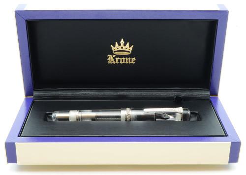 Krone Kristal Cristal Fountain Pen - Clear Demonstrator w Diamonds, Piston Fill, 18k Fine (Mint in Box)