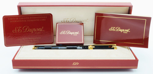 S T Dupont Classique Rare Cut-Away Fountain Pen - Black Lacquer (Excellent in Box, Non-Working Demonstrator Model)