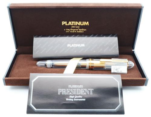Platinum President Fountain Pen - Clear Demonstrator, Gold Trim, Fine 18k Nib (New in Box, Works Well)