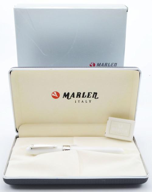 Marlen Sydney Fountain Pen - White Resin w Silver Trim, 18k Broad Nib (Mint in Box, Works Well)