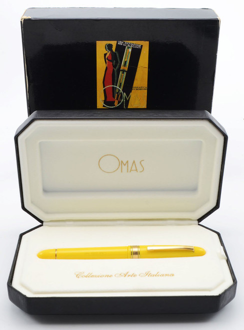 """Omas Extra Ogiva """"Arte Italiana"""" Rollerball - Yellow with Gold Colored Trim (Excellent in Box, Works Well)"""