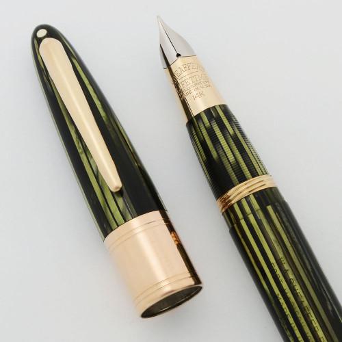 Sheaffer Triumph Valiant 1250 Fountain Pen - Fat Version Wide Cap Band, Green Striated, Vac Fil, Fine 14k Nib (Superior, Restored)