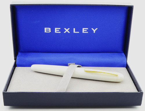 Bexley Imperial International Prototype Fountain Pen - White, Broad Two-Tone Steel Nib (New in Box, Works Well)