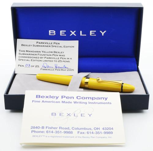 Bexley Submariner, Parkville Limited Edition (2005) - 03/25, Mandarin Yellow, 18K Stub Nib (Mint in Box, Works Well)