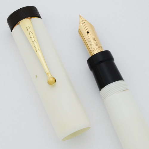 Parker Duofold Senior Reproduction - White w Black ends, Extra Fine Nib (Excellent, Works Well)