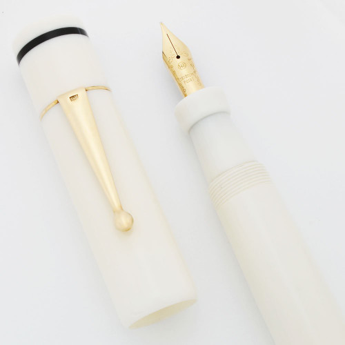 Bexley Giant White LE Fountain Pen (25/100) - White w Black Bands, 10k Gold Trim, Medium Flexible 14k Nib (Near Mint, Works Well)