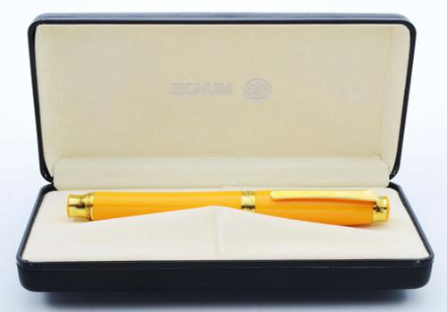 Signum Solare Grande Fountain Pen - Yellow-Orange Resin w Gold Plated Trim, Broad 18k Nib (Near Mint in Box, Works Well)
