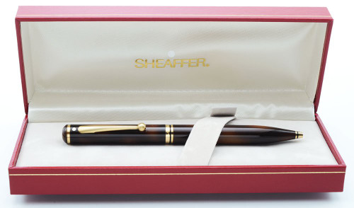 Sheaffer Grand Connaisseur Ballpoint Pen (1987-96) - Tortoiseshell Laque, Gold Filled Trim  (New Old Stock in Box)