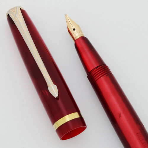 "Conway Stewart 570 ""Dinkie"" Vintage Fountain Pen - Red Lumina Casein, 14k Fine Nib (Excellent, Restored)"