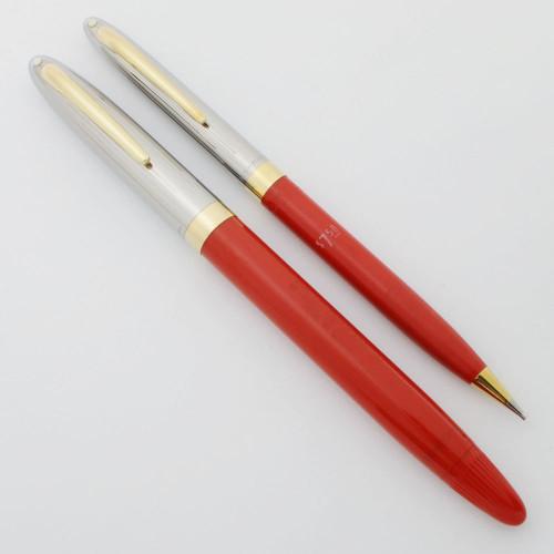 Sheaffer Clipper Snorkel Fountain Pen Pencil Set - 1955-9, Fiesta Red, Fine PdAg Nib (Excellent, Restored)
