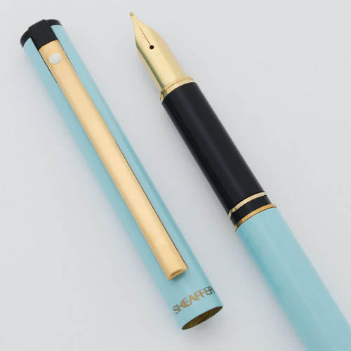 Sheafer TRZ Fountain Pen - Baby Blue w Gold Trim, Medium Nib (New Old Stock)