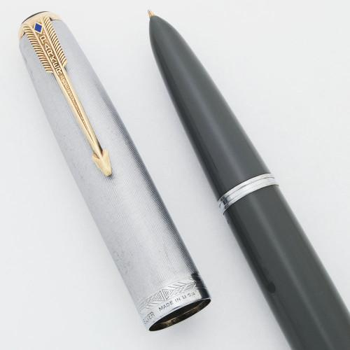 Parker 51 Vacumatic Fountain Pen (1943) - Dove Gray, Sterling Cap, Medium Nib (Excellent, Restored)