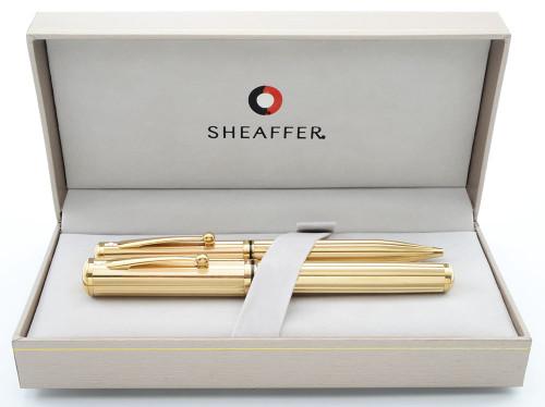 Sheaffer Grand Connaisseur Fountain Pen Ballpoint Set - Gold Lined Model, 18k Stub Nib (Near Mint in Box, Works Well)